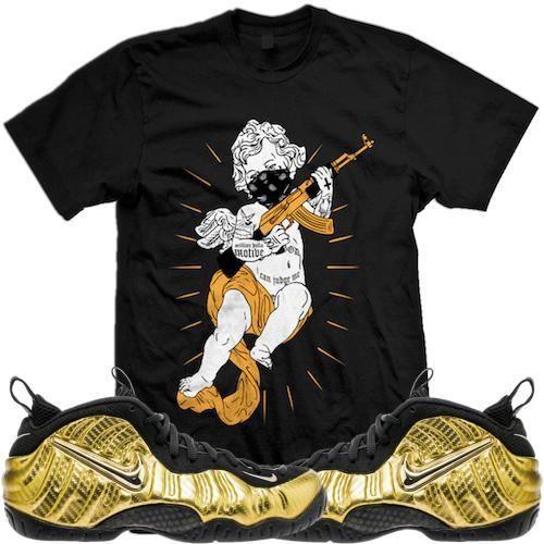 Metallic Gold Foamposites Sneaker Tees Shirt - THUG ANGEL