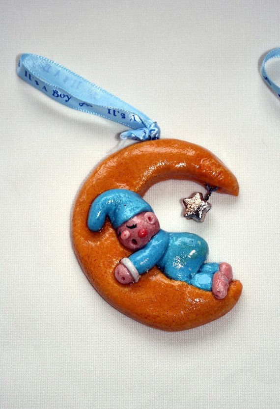 Sleeping Baby on a Half Moon Bread Dough Ornament by OlinkaOlinka