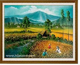 PD105 - Lukisan Panen Padi/Sawah 60x80  Lukisan Kode  Ukuran: 60x80cm  Harga: Rp.375.000
