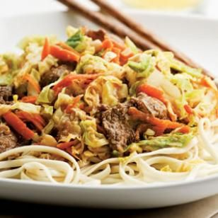 Beef & Cabbage Stir-Fry with Peanut Sauce...The subtly sweet peanut sauce blends deliciously in this beef, cabbage and carrot sauté. Spice up the dish with a few dashes of your favorite hot sauce. Serve with udon noodles.