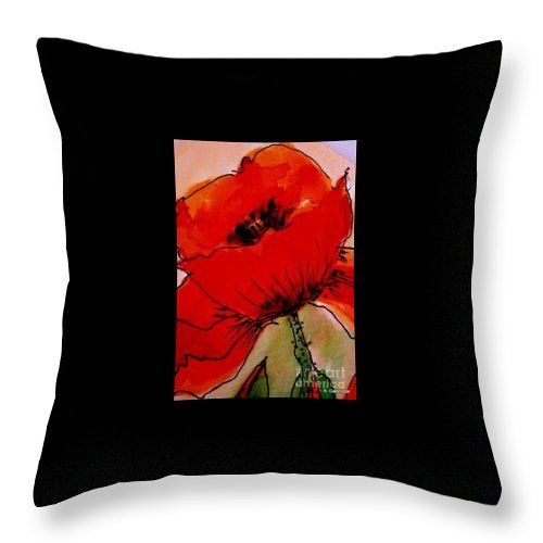 Poppy Throw Pillow featuring the painting Red Poppy by Angela Gannicott