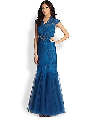 Steel blue fancy, neckline might be too high though... Teri Jon Lace-Bodice Gown