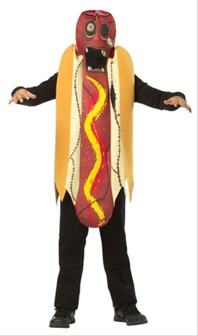 Zombie Hotdog Teen Costume - You'll be exactly like the hotdogs at your local corner store this Halloween, with this outstanding Zombie Hotdog Costume. This one-piece costume includes a polyfoam suit. The suit slips on over the head and then does up with velcro tabs in the rear. The head of the suit features a popped-out eye attached to an elasticized red strap. #zombie #hotdog #food #yyc #calgary #kids #costume