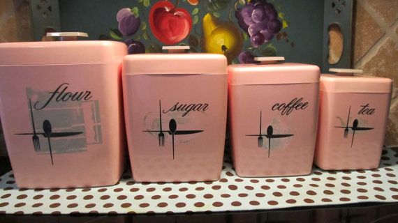Love the elegant, flowing font on this vintage pink kitchen canisters. #pink #vintage #canisters #home #decor #retro