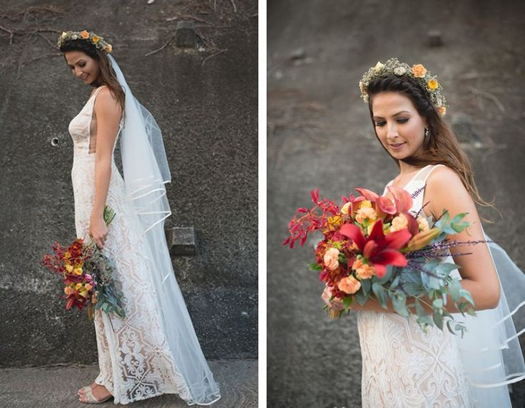 Vestido de noiva para casamento na praia de dia