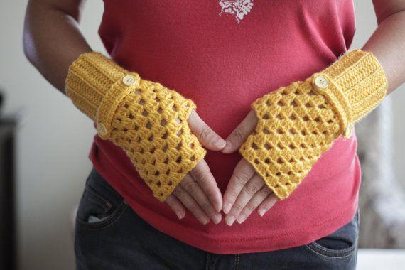 Перчатки без пальцев желтые варежки крючком для женщин SENNURSASA
