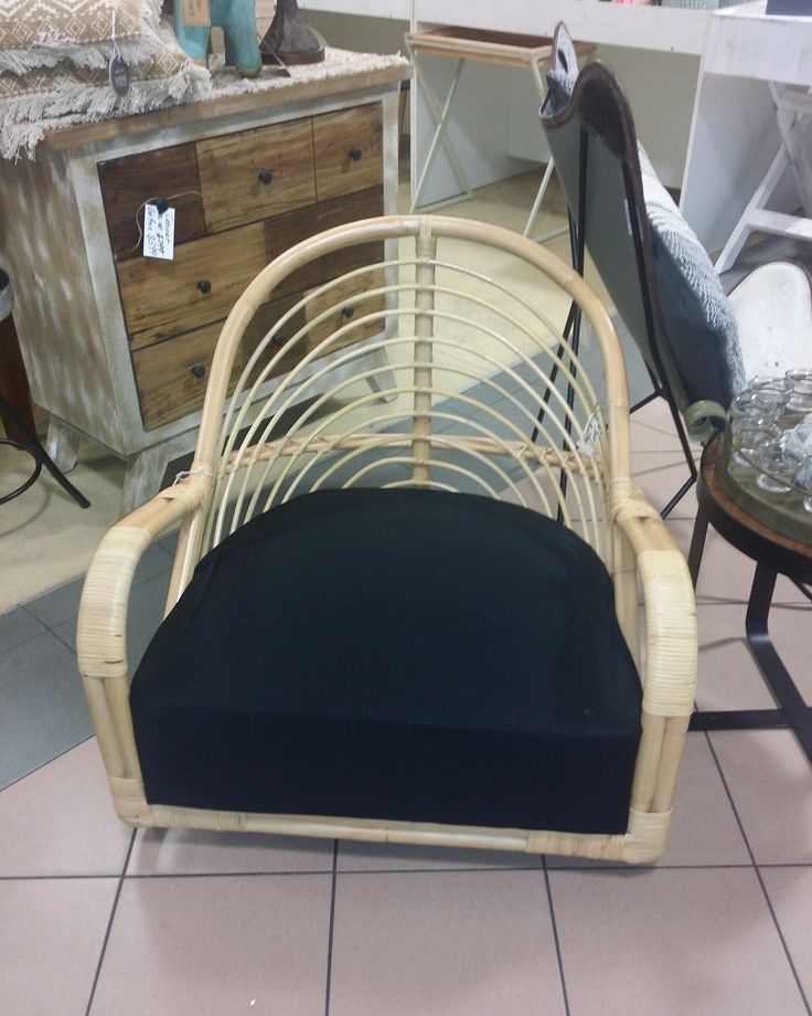 New arrival  Gorgeous cane chair with black seat cushion. Layby is welcome