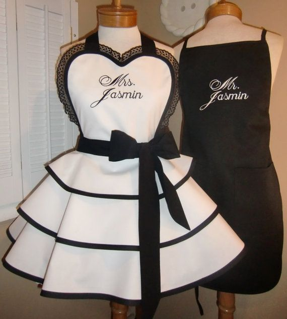Mr. and Mrs. Custom Bridal Aprons...Perfect Bridal Shower Gift, Available In Black Or White ETSY - $125