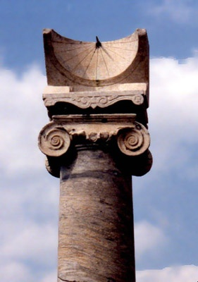 Ancient Roman sundial, one of the 2 remaining ionic columns in front of the Temple of Apollo. Erected in 5th century BCE. Pompeii, Italy