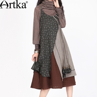 #Swanmarks Artka Desert Series Layered Printing with Handmade Brooch Long Sleeved Dress