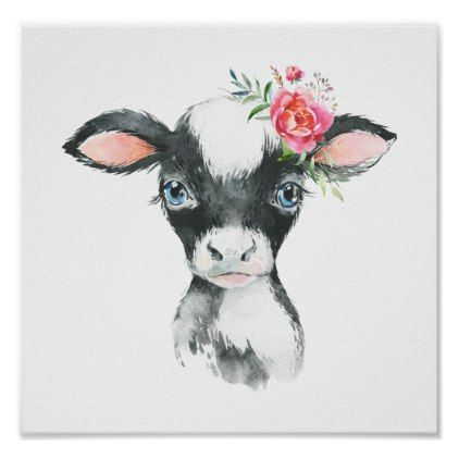Baby Cow Watercolor Farm Illustration Poster | Zazzle.com – Ute Ahrens Photography & Art