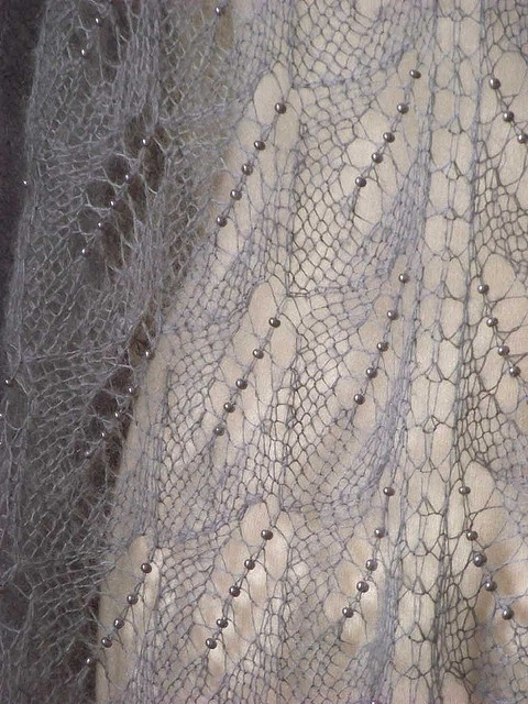 knitted shawl + glass beads