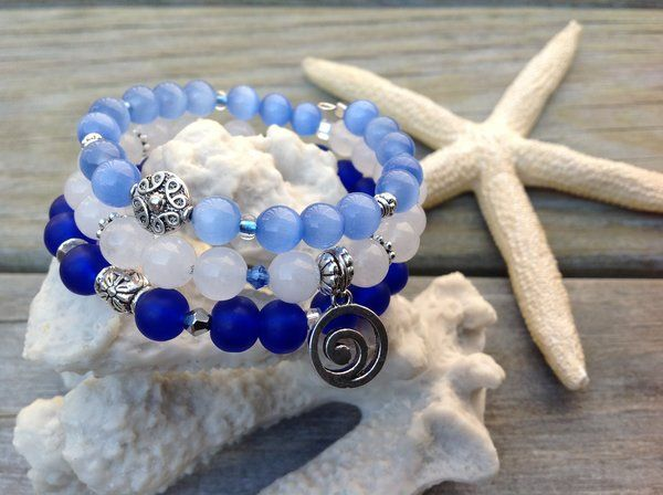 """Blue Wave"" Wire Wrap Bracelet"
