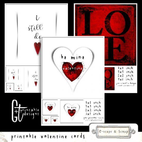 GTPD TRIO OF PRINTABLE VALENTINE CARDS