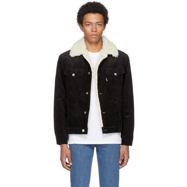 Maison Kitsuné Black Corduroy Trucker Jacket (5.497.065 IDR) ❤ liked on Polyvore featuring men's fashion, men's clothing, men's outerwear, men's jackets, black and mens corduroy jacket