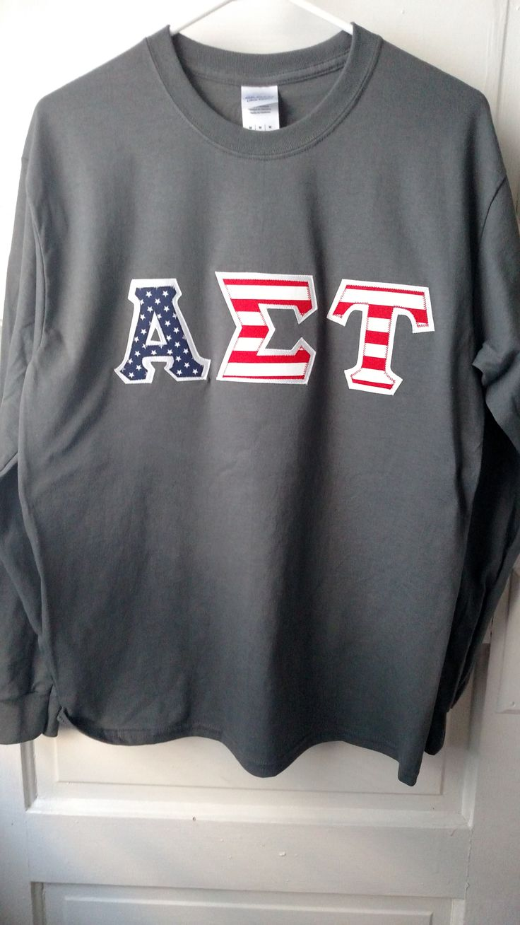 alpha sigma tau grey long sleeve american flag shirt