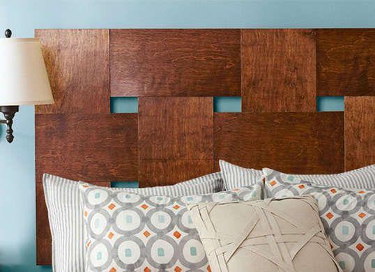 Woven wooden headboard. Such a cool idea.