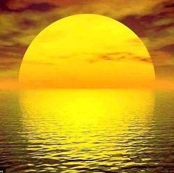 #Sun, #Ocean, #Sunset, #Yellow