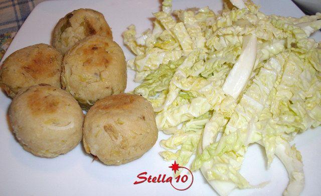polpette di fagioli di soia con insalata di verza