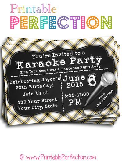 Birthday Party Invitation Karaoke Party Horizontal