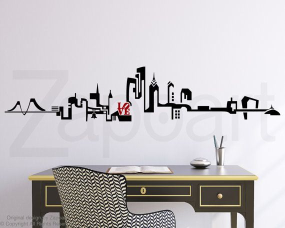 Philadelphia Skyline Wall Decal by Zapoart on Etsy