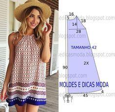 Passo a passo construção molde de vestido. O molde de vestido encontra-se no tamanho 42. A ilustração do molde de vestido não tem valor de costura.