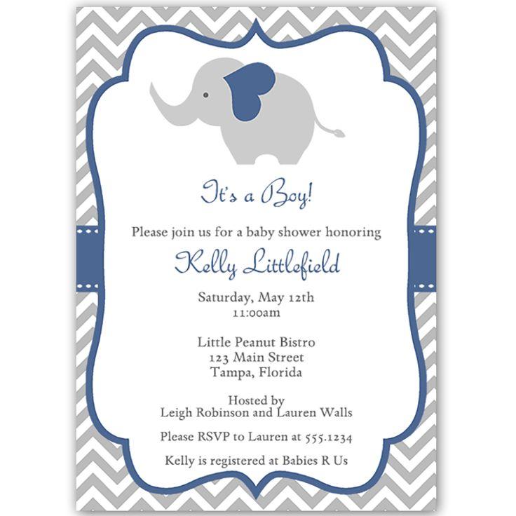 Chevron Elephant Navy Baby Shower Invitation