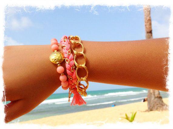 Bella Coral  Friendship Bracelet  Arm Candy  by ClaribellasDesigns, $34.00