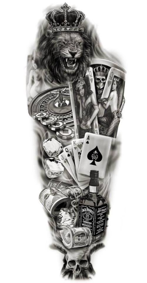 Columbus Custom Tattoo Designs: Full Sleeve Custom Design Tattoo Lion / Gambling / Playing