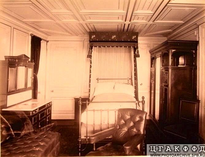 Bedroom on the Russian Imperial Yacht 'Livadia'.
