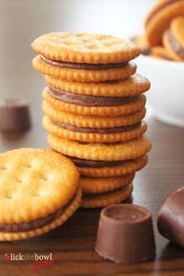 Rolo-stuffed Ritz crackers...easy enough! Great little salty and sweet snack even better if dipped halfway in chocolate