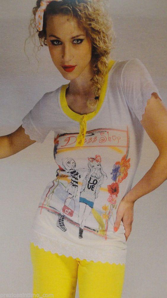Pigiama Donna estivo corto Cotone Simpatico giallo bianco Bianco pizzo stampa