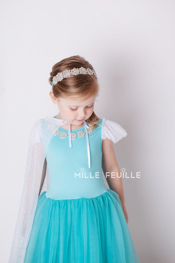 Frozen Princess Elsa dress Couture with crystal snowflakes Frozen birthday party Queen Elsa by MilleFeuilleBoutique