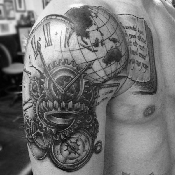 Mens Shoulders Metallic Gear Globe Book And Clock Tattoo