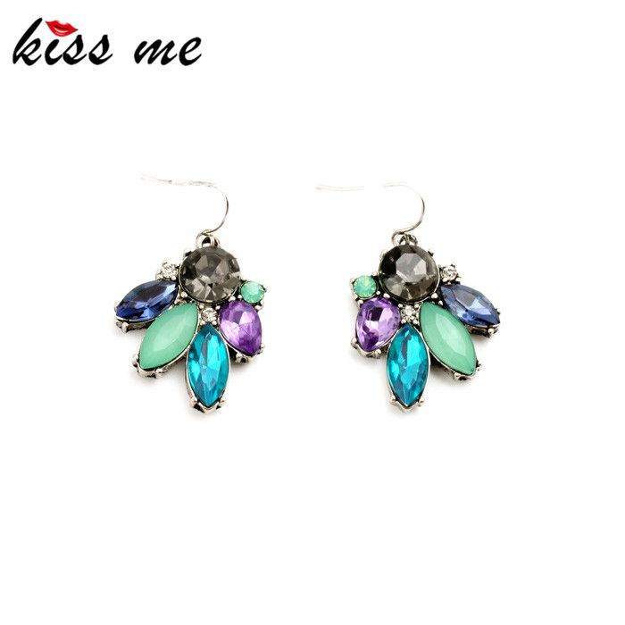 Sparkly Multicolor Imitation Gemstone Flower Small Earrings Fashion Jewelry Women Accessories