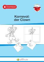 Das Themenpaket Karneval: der Clown umfasst 11 Seiten. Das Material bietet verschiedene Übungen zum Malen, Schneiden, Kleben und Einkreisen sowie zum Basteln an. Das Motto Clown findet sich in großformatigen Malvorlagen, in Bildern zur Fehlersuche, in Puzzles und in einer Bastelanleitung wieder.  Die Übungen dienen zur Förderung der Wahrnehmung, der Konzentration sowie der Auge-Hand-Koordination. Die Schülerinnen und Schüler benötigen hierfür keinerlei Deutsch- oder Mathematikkenntnisse.