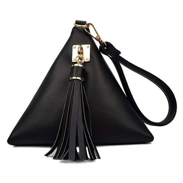 Solid Color Triangle Shape Tassel Clutch Bag ($12) ❤ liked on Polyvore featuring bags, handbags, clutches, black bags, purses, tassel handbag, tassel purse, man bag, black purse and black clutches