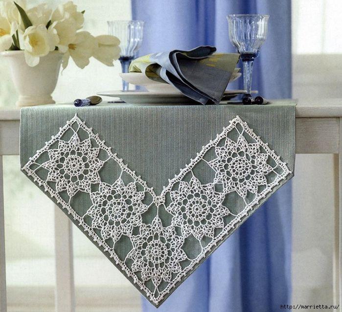 Льняная ткань и крючок. Схемы для вязания скатерти (5) (700x638, 345Kb)