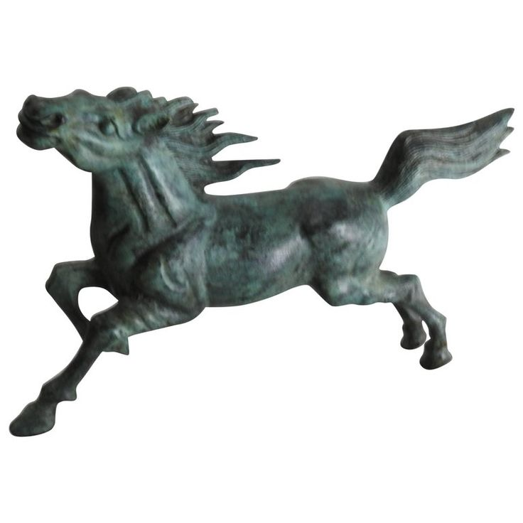 Midcentury Bronze Running Horse Statue | From a unique collection of antique and modern sculptures at https://www.1stdibs.com/furniture/decorative-objects/sculptures/
