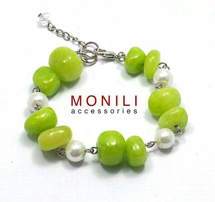 Green riverstone bracelet by Monili