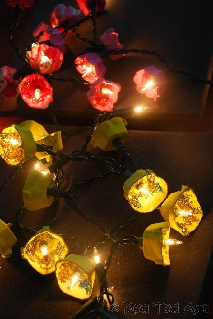 Make blossom fairy lights from egg cartons! This is such a pretty recycled materials project.