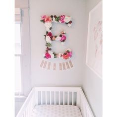 beautiful floral letter above baby's crib!!