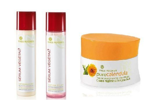 Yves Rocher FRANCE 3-piece: Serum Vegetal 3 Cleansing Milk - Smoothing Action, 200 ml & Serum Vegetal 3 Radiance Lotion- Perfecting Action Toner, 200 ml (+ 40 years age) & Pure Calendula Cream (Creme Regeneratrice Jour/ Nuit) by Yves Rocher FRANCE. $79.50