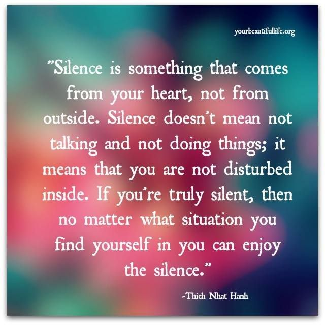 Silence is something that comes from your Heart ~ not from outside. Silence doesn't mean not talking and not doing things ~ it means that you are not disturbed inside. If you're truly silent, then no matter what situation you find yourself in ~ you can enjoy the silence ⊰❁⊱ Thich Nhat Hanh