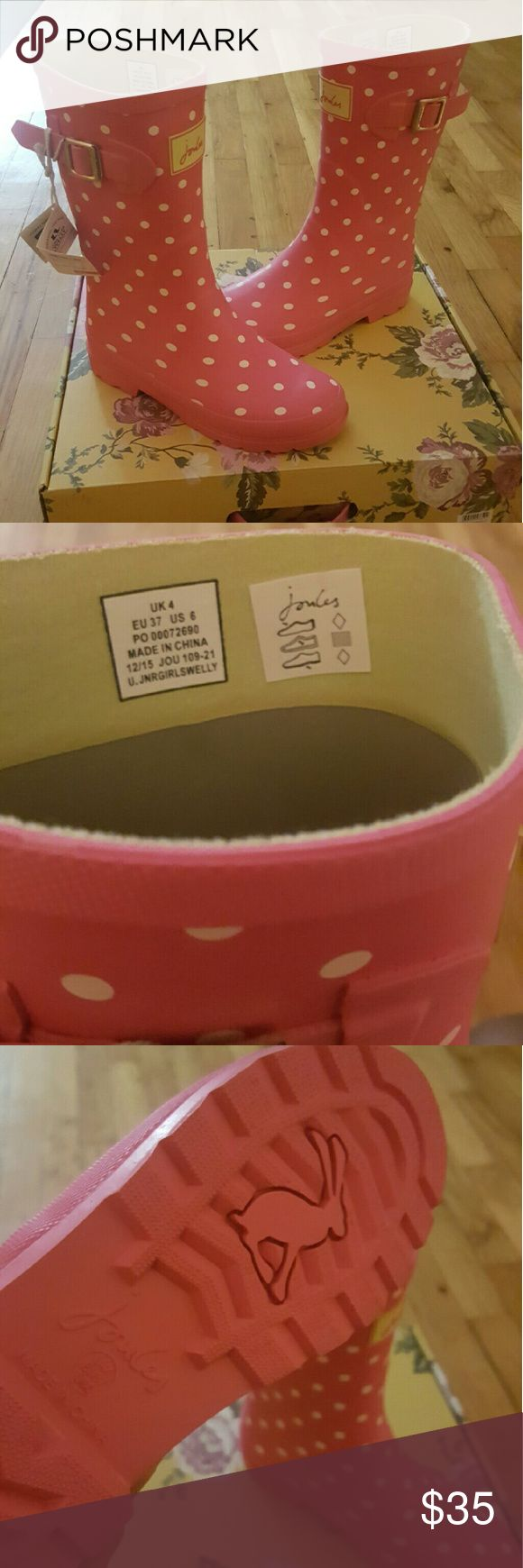 Joules rainboots size 6 Pink raincoats. Yellow lining Joules Shoes Winter & Rain Boots