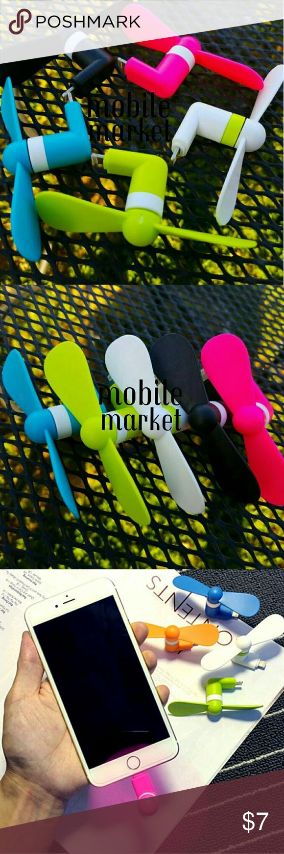 IPhone fan Colors available: Pink, green, white, blue, black  Great for summer! Just plug into your phone, ipad, ipod, smartwatch, etc and beat the heat! Tried and tested, good quality fan! The end is an 8 pin for apple.  Works with  Iphone 5, 5s, 5c, 6, 6s, 6 plus, 6s plus, SE, 7, 7 plus Ipod and iPad that take the 8 pin charger Accessories