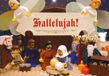 Rare LEGO NATIVITY POSTCARD Angels Jesus Mary Joseph Christmas NOT A LEGO SET For church school