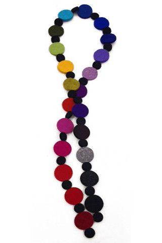 Dot Necklace Rainbow w/Black