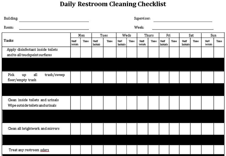 Sample Basic Daily Restroom Cleaning Checklist Restroom Checklist Template
