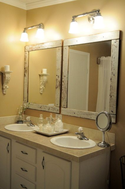 Like These Mirror Frames For Averys Bathroom Homemade Frame Bathroom Mirrors Those With One Large Mirror Over Dual Sinks Can Cut The Mirror In Two And Add